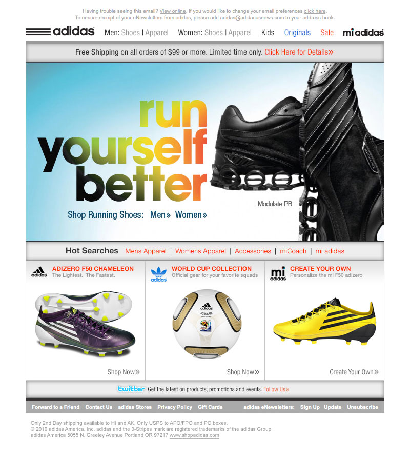adidas email marketing design