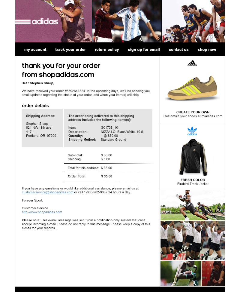 adidas transactional message