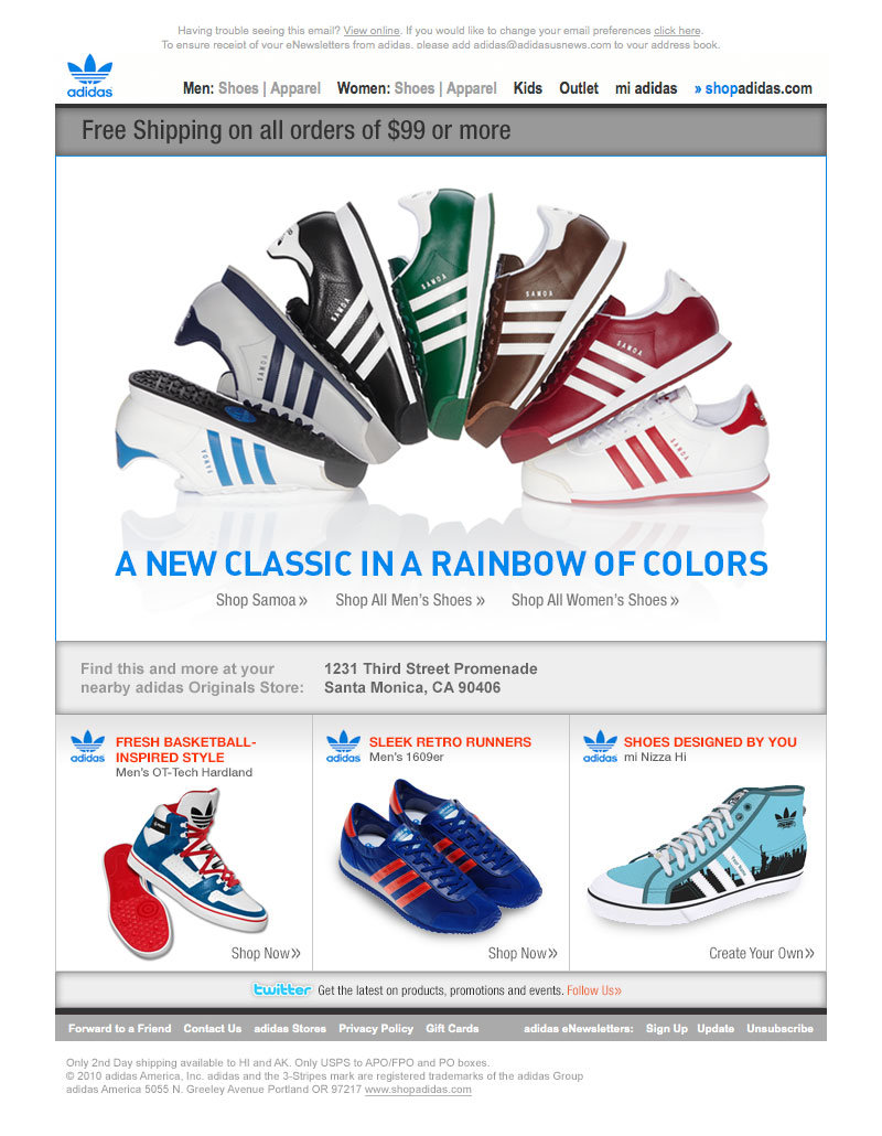 adidas product email