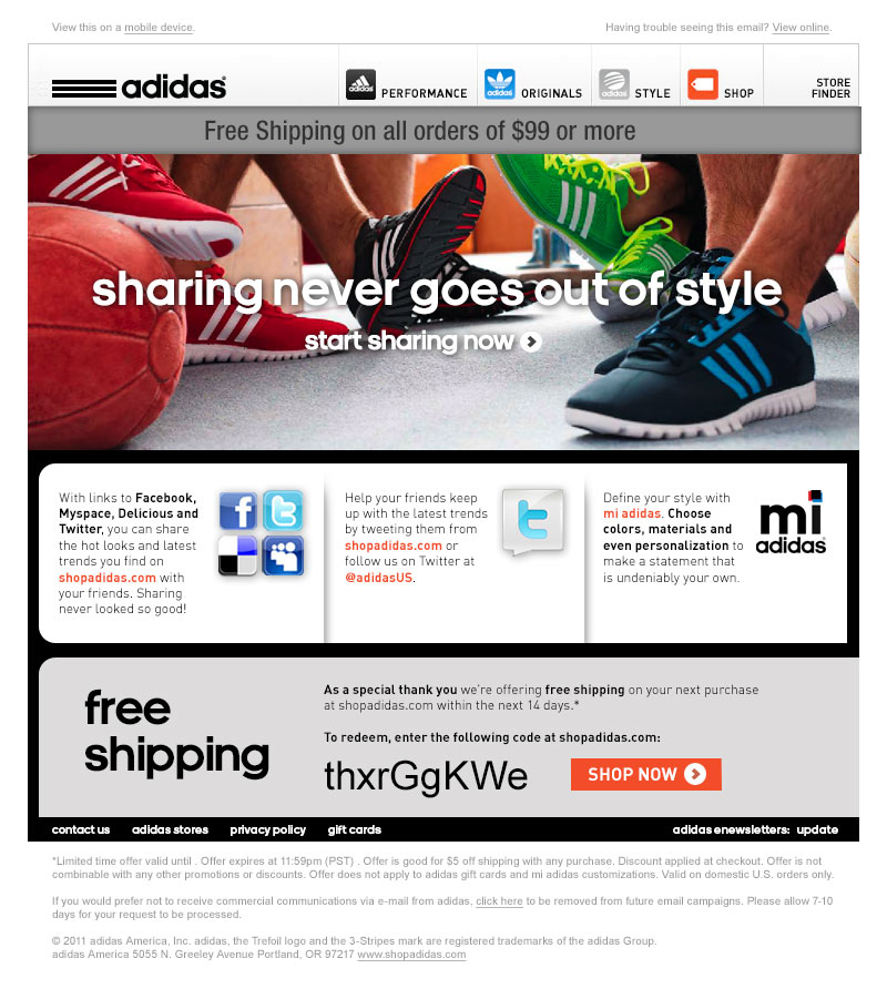 adidas welcome email