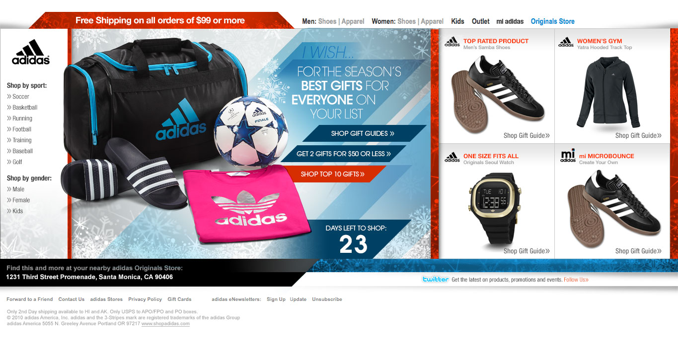 adidas horizontal scrolling html email