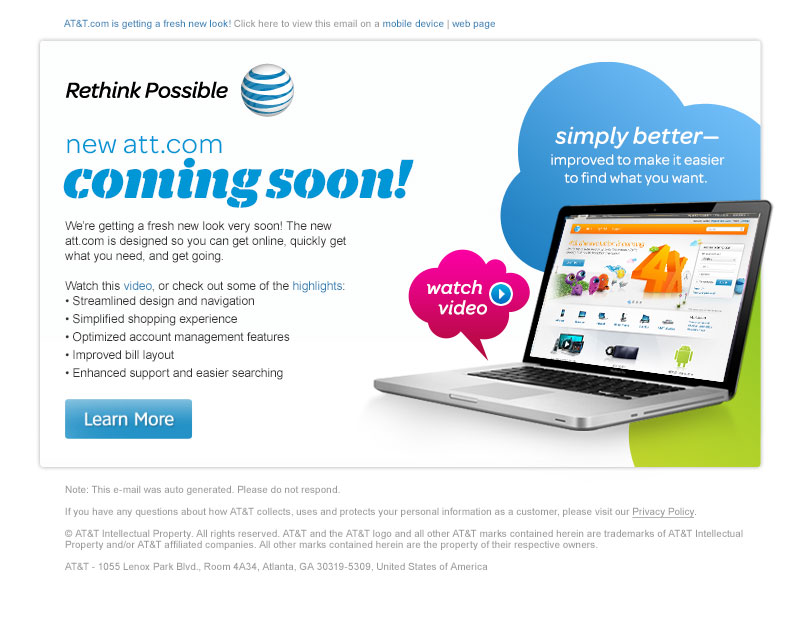 AT&T Email Marketing Announcement