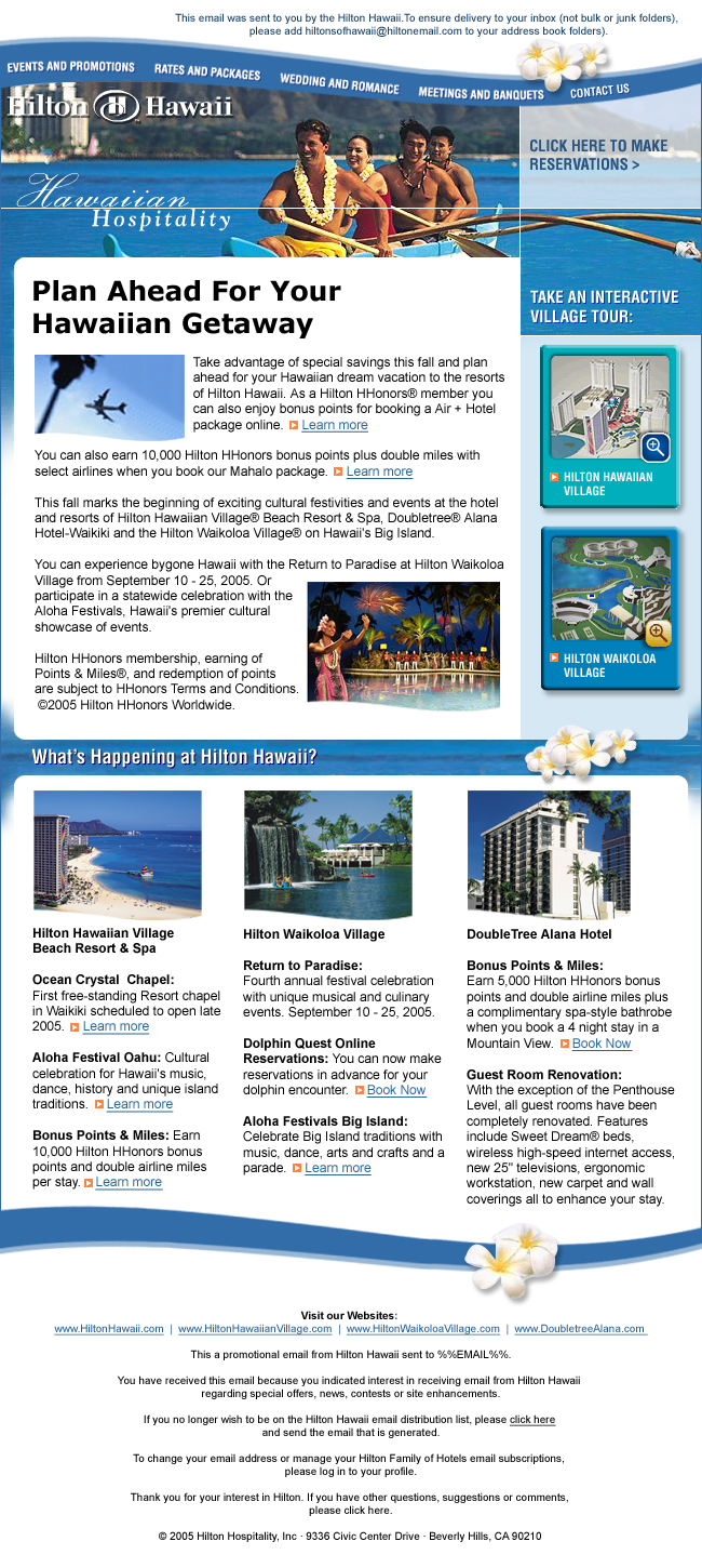 hilton email creative example