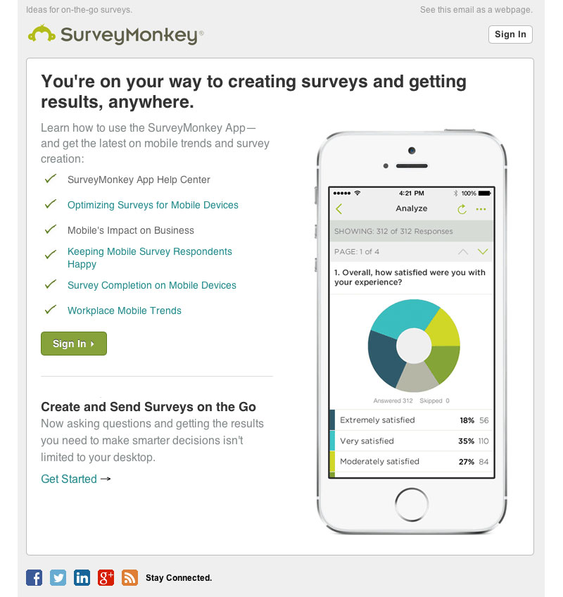 surveymonkey mobile welcome email