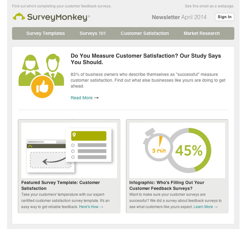 surveymonkey email newsletter