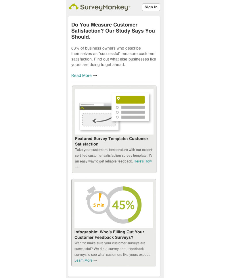 surveymonkey responsive newsletter email