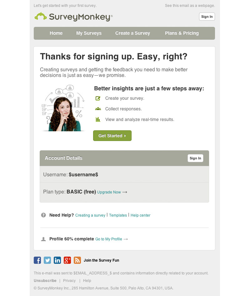 surveymonkey welcome email